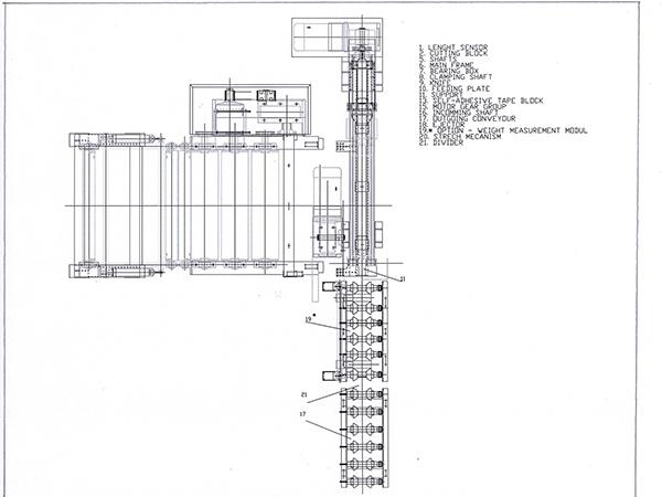 Скица на система за транспорт и измерване теглото на рула